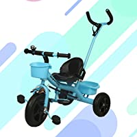 GoodLuck Baybee - 2 in 1 Convertible Baby Tricycle Kid's Trike with Parental Adjust Push Handle Children Tricycle with Seat Belt Kid's | Suitable for Boys & Girls - (1 to 5 Years) - Blue