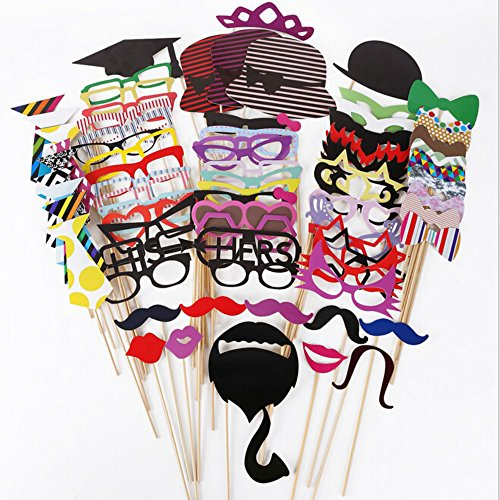 ThyWay Photo Booth Props 76 PCS DIY Kit for Wedding Party Reunions Birthdays Photobooth Dress-up Accessories & Party Favors, Costumes with Mustache on a stick, Hats, Glasses, Mouth, Bowler, (2)
