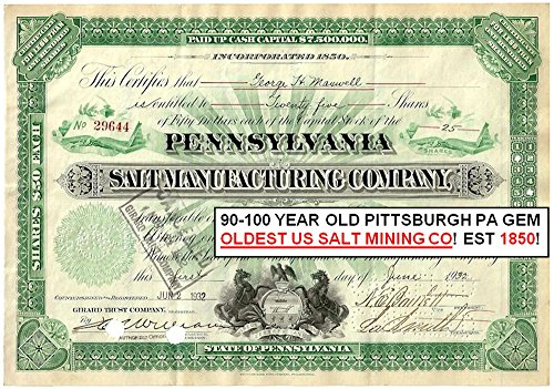 Scarce Type (1927 STUNNING CENTURY OLD PENNSYLVANIA SALT STOCK w BLACK HORSES, OPEN BOOKS DISPLAYING SERIAL NO. & SHARES! SCARCE! Various Share Amounts Exteremely Fine)