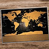 Scratch Off Map of The World - Extra Large Travel Tracker Map - Scratch Tools & Memory Stickers Included - Perfect Travel Gift - World Map 36 x 24
