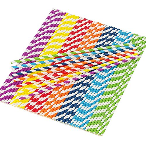 105 Count 12 inch Antique extra long Paper Straws in Rainbow Color Assortment for Weddings, Parties, Decorations - Striped