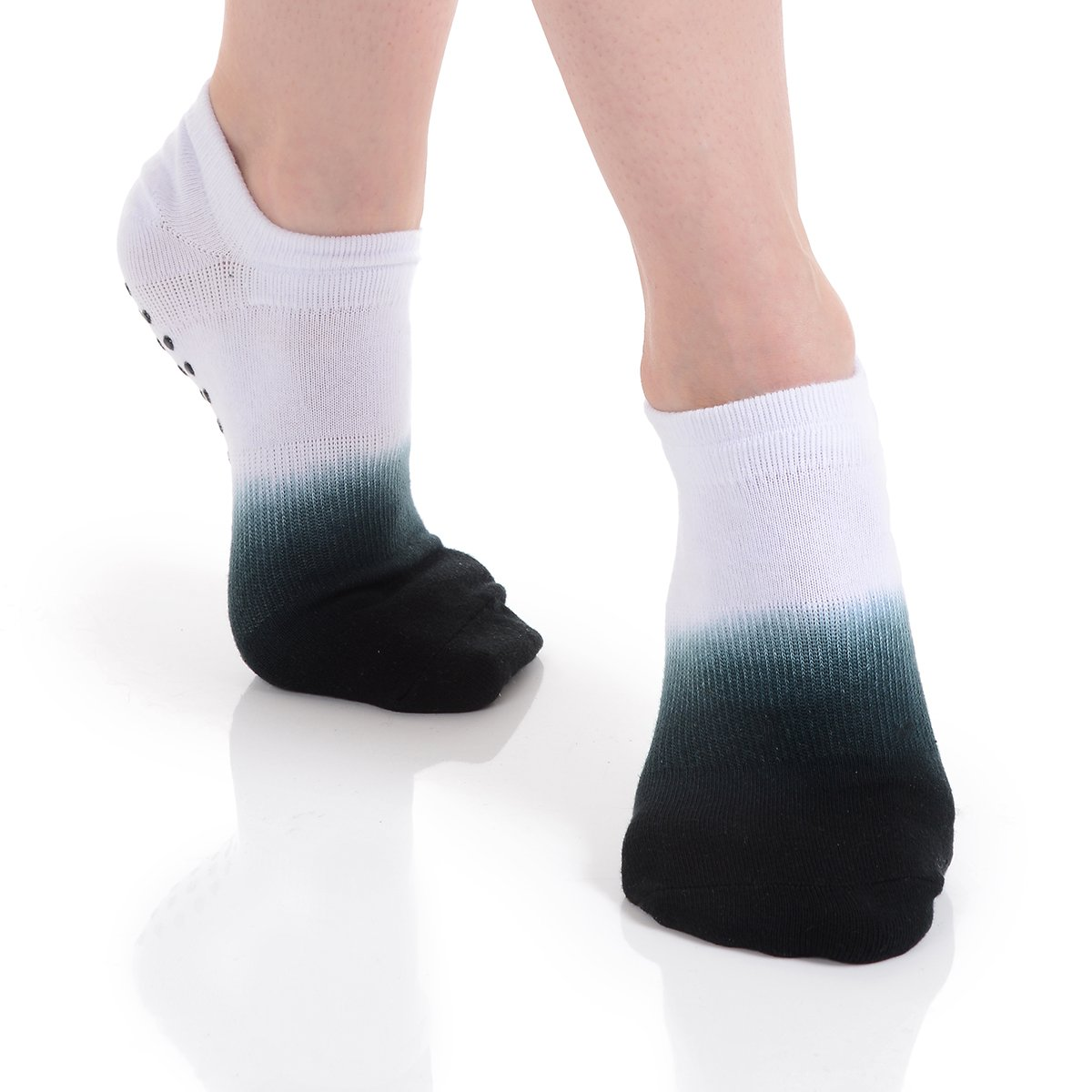 Great Soles Women's Ombre Dyed Grip Socks for Pilates, Yoga, and Barre (White/Black)