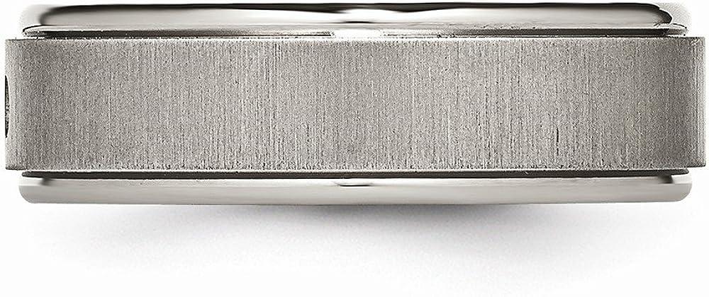 Diamond Rounded Edge Wedding Band Jewel Tie Titanium Brushed//Polished 0.05ct 7mm