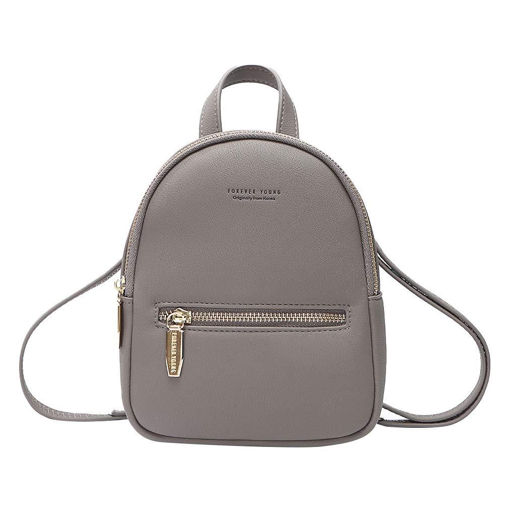 Women's Fashion Colorful Leisure Messenger Bag Mini Bag Multifunction Backpack School Travel Bag (Gray)