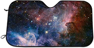 Car Sun Shade Block Sun UV and Heat Universal Fit INTERESTPRINT Feathers with Magical Galaxy Windshield Sunshades