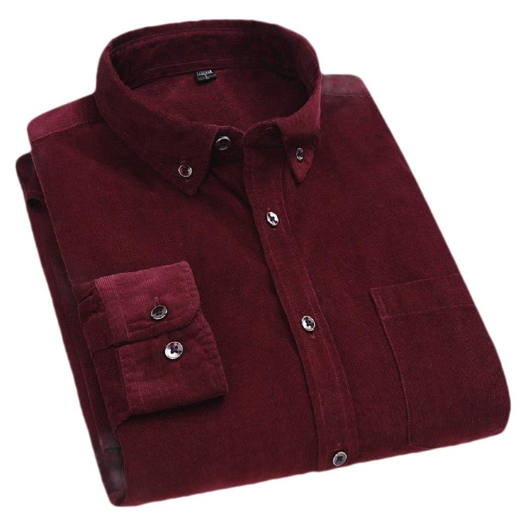 Zimaes-Men Casual Business Corduroy Long Sleeve Button Blouses and Top Shirts