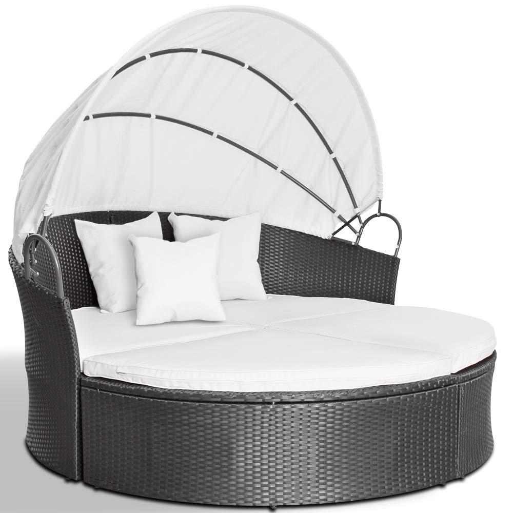 Miadomodo - Conjunto de sillones para jardín - anchura total, Diametro aprox. 180 cm - de polirratán gris: Amazon.es: Jardín