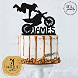 Motocross Customized Birthday Cake Topper Dirt Bike Personalized Birthday Cake Topper | Solid Color Cake Topper