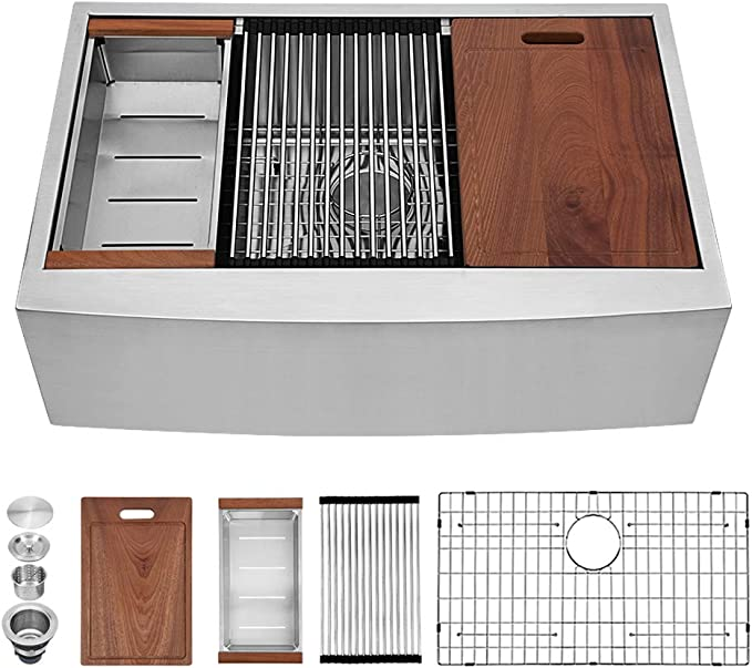 Sarlai 33 Inch Ledge Farmhouse Apron Single Bowl 16 Gauge Stainless Steel Luxury Kitchen Sink