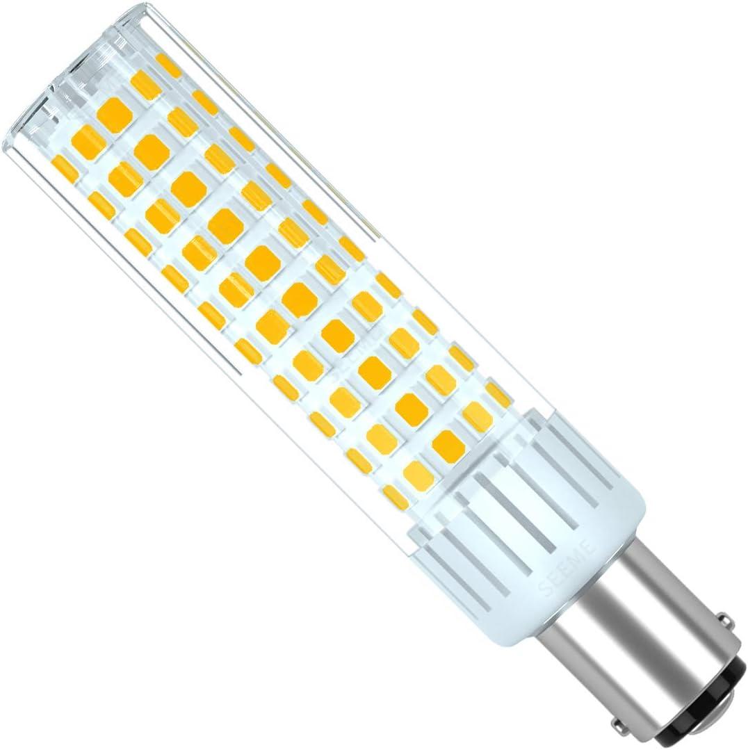 SEAMI B15D Bombilla LED de 8.5W 90-265V Equivalente a Bombillas Halógenas De 100W de Luz Blanco Cálido 3000K SBC Doble Bayoneta de Contacto Para Interior RV Iluminación (1-Pack, No Regulable)