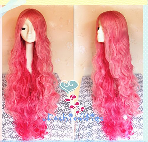 90cm Long uta no prince sama ringo tsukimiya Pink Cosplay Wig, Pink mixed Hot Pink Ombre Color Curly Anime Wigs for Party UF046