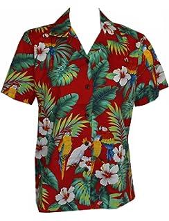 5303f8e31 Made in Hawaii! Women's Parrot Hibiscus Hawaiian Luau Cruise Camp Shirt