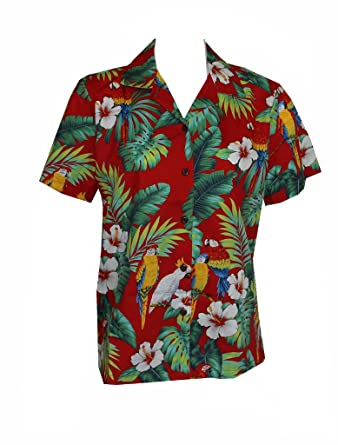 c69867af Amazon.com: Women's Parrot Hibiscus Hawaiian Luau Cruise Camp Shirt ...