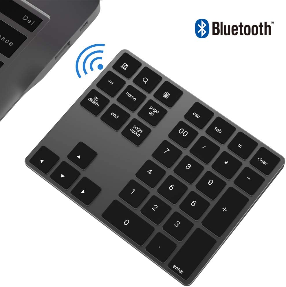 Teclado numérico Bluetooth, IKOS Teclado numérico externo Bluetooth de 34 teclas con múltiples accesos directos para computadora portátil Windows Surface IOS iMac Mackbook iPad Android Tablet