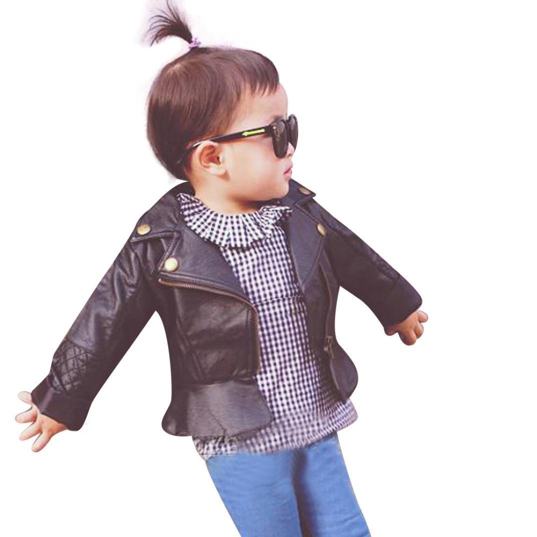 JPOQW(TM) Coolest PU Leather Baby Girl Infant Zipper Outwear Coat (4T, Black)