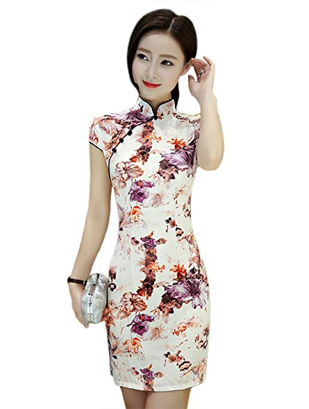 Womens Vintage Mini Chinese Evening Prom Dress Cheongsam Summer Style Slim Qipao (L, Style