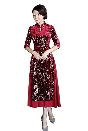 c9730a820 Amazon.com: Shanghai Story Autumn Vietnam Ao Dai 3/4 Sleeve Velvet Aodai  Style Dress Cheongsam: Clothing