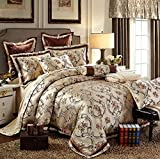 What Is a European King Size Bed European Noble Home Textile 6pcs Jacquard Bedding Set Embroidery Silk/Cotton Duvet Cover Bed Sheet Cotton Queen Size