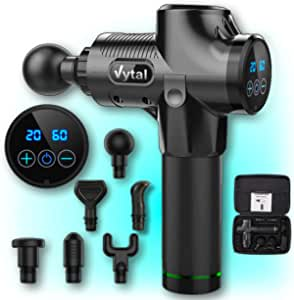 Vytal Goods Massage Gun, Electric Handheld Muscle Massager - PREMIUM Deep Tissue Soreness Relief Kit & Portable Durable Gym CASE - Unisex Exercise Post-Workout Recovery - Long Lasting Battery