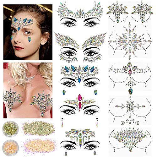10 Sets Face Gems Glitter,Women Mermaid Bindi Temporary Stickers Rhinestone Rave Face Body Jewels festival 2 Pack Face Body -