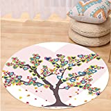 VROSELV Custom carpetLove Decor Tree With Leaves And Hearts Love Symbol Celebrating Anniversary Artwork Bedroom Living Room Dorm Decor Round 72 inches