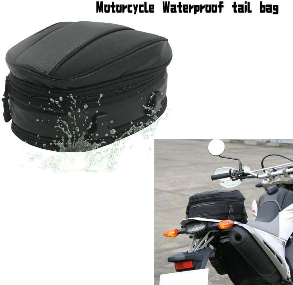 Bolso del Paquete del Cuero de la Cola del Asiento Trasero de la Motocicleta Bolsa de Equipaje Extensible PU Impermeable 7.5-10L Capacidad para Ajuste Universal