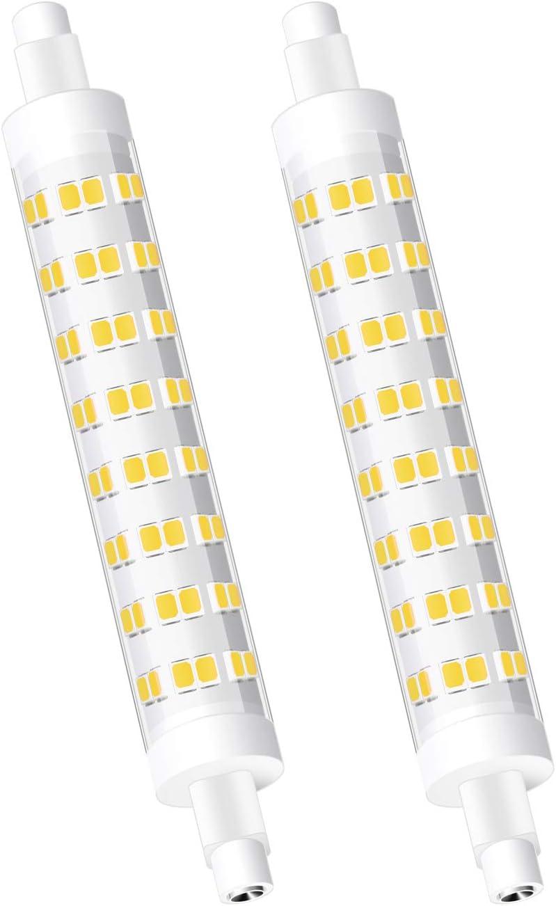 Eofiti Bombilla R7s LED 118mm 10W, LED R7s Blanco Frio 6000K Equivalente a 80W Halógeno Luz R7s 118mm Slim 900lm Lampara LED R7s 360° Ángulo de Haz 230V AC R7s LED 96 * 2835 SMD 83Ra Pack de 2