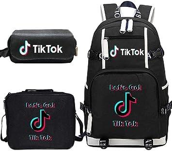 Mochila Mochila + Bolsa de Almuerzo + Estuche para lápices Juego de Tres Piezas TIK Tok Student School Bag-E-F_un tamaño: Amazon.es: Equipaje