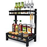 FUNSEED Stainless Steel Spice Rack, 2 Tier Large Organizer for Countertop, Standing Spice Shelf Kitchen Bathroom Pantry Seaso