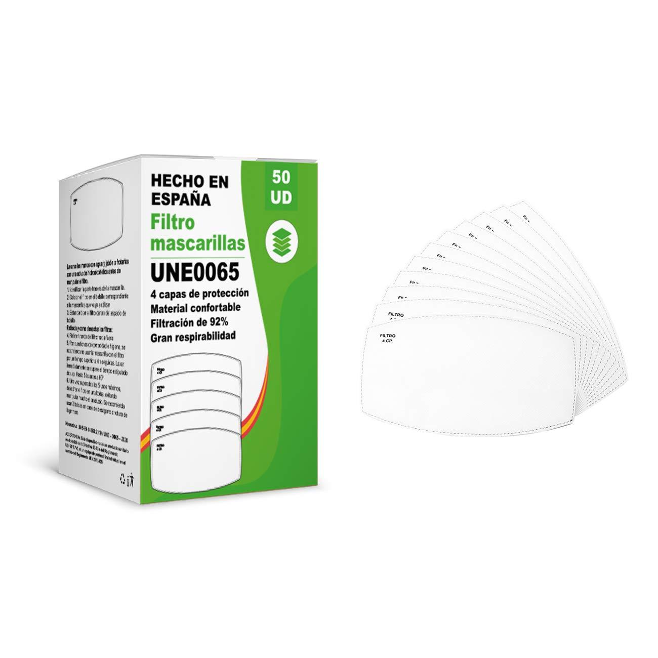 [ENVÍOS EN 24H] KALLPA® 50 filtros para mascarillas UNE0065 - REUTILIZABLES - fabricados en ESPAÑA - hidrófobo, antiestático y antibacteriano, muy transpirable, (TNT) (tnt)