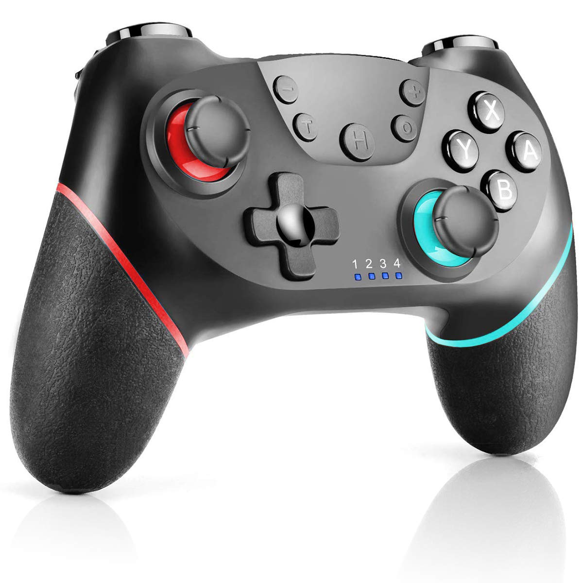 CHEREEKI Manette pour Nintendo Switch, Manette Pro Switch sans Fil avec Bluetooth / Gyro Axis Double Moteur Turbo (Rouge-Bleu)