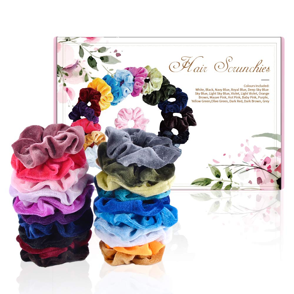 9b3ef90a342f HYCKee 20 Pcs Hair Scrunchies, Velvet Elastic Hair Bands Hair Ties Ponytail  Holder Scrunchy Hair Accessories for Girls Women, 20 Assorted Colors  Scrunchies