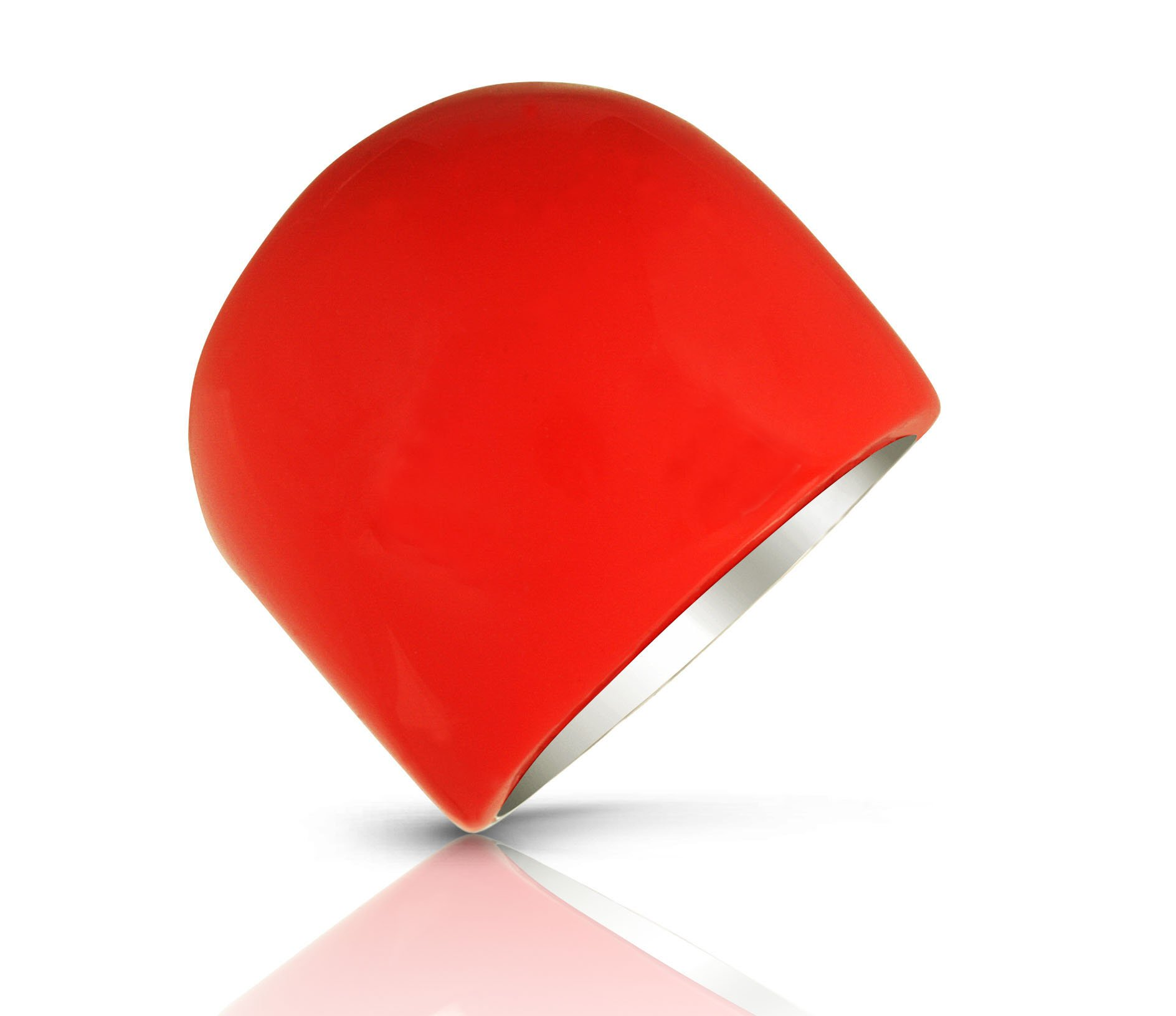 JanKuo Jewelry Artificial Stone Glass Red Coral Color Dome Cocktail Ring with Gift Box (7)