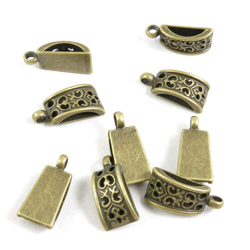 610 PCS Beading Jewelry Making Charms Finding Jewellery Charme Antique Bronze Plated Craft Crafting J7RG5 Bead Bail Cord Ends by BLUESTONE Charms (Image #1)