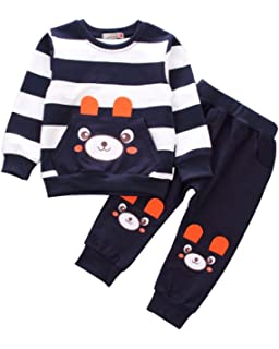78cb374a4a18e Baby Boys Toddler Kids 2 Pieces Winter Fall Summer Clothing Set T-Shirt  Pants Outfits