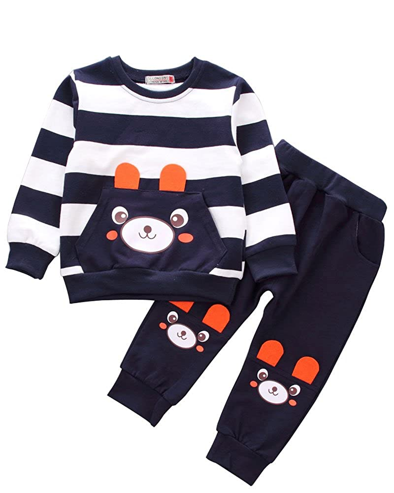 5e1511352ce2f Baby Boys Toddler Kids 2 Pieces Winter Fall Summer Clothing Set T-Shirt  Pants Outfits