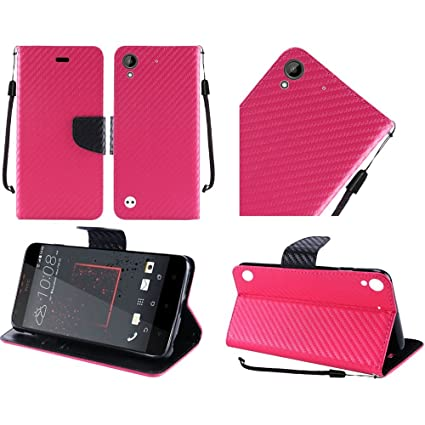info for 929ba 76f46 HR Wireless Cell Phone Case for HTC Desire 555/530/ 550 Wallet Covers - Hot  Pink