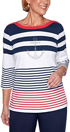 Alfred Dunner Womens Striped Anchor Top