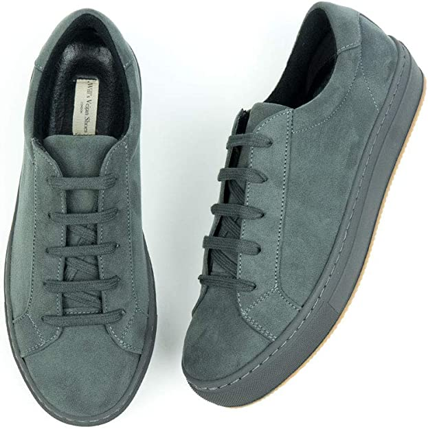 Will's Vegan Shoes Mens Colour Sneakers Grey Vegan Suede