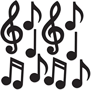 "Beistle Mini Musical Notes Silhouettes, 5.5""-10.25"", Black"