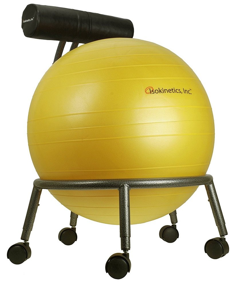 Isokinetics Inc. Brand Adjustable Fitness Ball Chair - Silver Flake on Black Metal Frame Finish - Exclusive: 60mm (2.5'') Wheels - Adjustable Base and Back Height - with Yellow 55cm Ball and a Pump