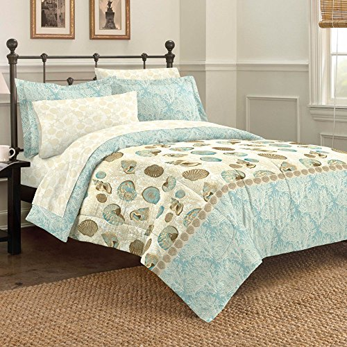 Discoveries Casual Sea Breeze Comforter Set, King, Blue (Sets Beach Theme King Bedding)