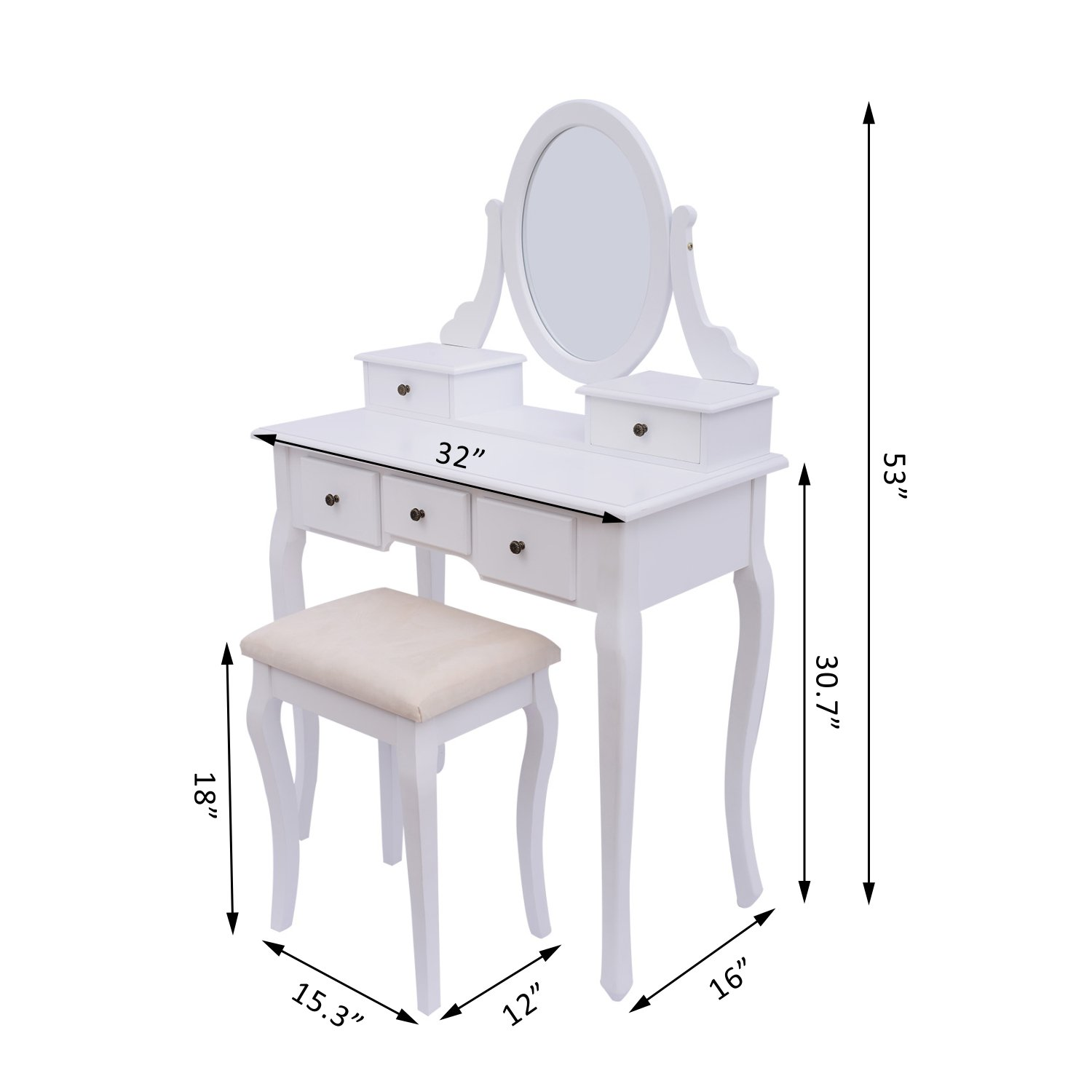 Good HomCom Dressing Table Stool Makeup Mirror Wood Dresser Antique Style Shabby  Chic With Vanity Mirror U0026 Stool   White: Amazon.ca: Home U0026 Kitchen