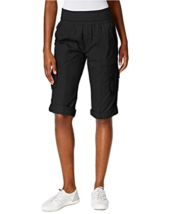 73bce6153b212e Calvin Klein Performance Women's Two Button Cargo Capri Pants PF6P0735  (Small, Black)