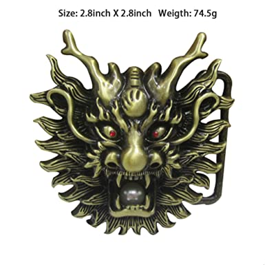 dragon10 LKMY Chinese Dragon Head 3D Belt Buckle,Mythical Themed Authentic Dragon Designs