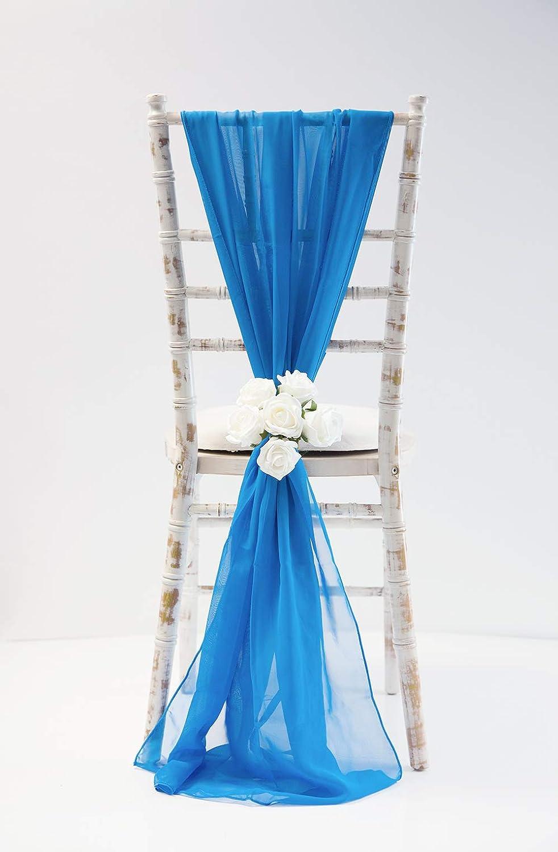 CHIFFON-VERTICAL-DROPS-70CM X 2M-21-COLOURS-DECOR-CHAIR-COVER-WEDDING DECOR CHIFFON DRAPES Royal Blue