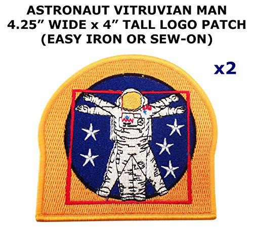 2 PCS Astronaut Vitruvian Man NASA Space Theme DIY Iron / Sew-on Decorative Applique Patches