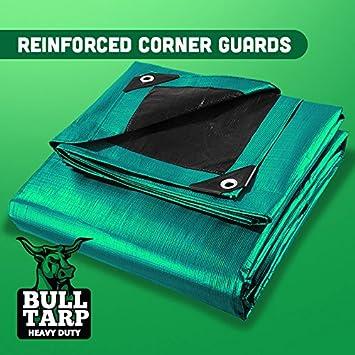 20X30 Multi-Purpose Heavy Duty Poly Tarp Tarpaulin Tent Shelter Fire Wood Cover Super Heavy Duty Waterproof Reinforced Grommets Every 18 Green//Black 20X30 Reinforced Grommets Every 18 Bull Tarp