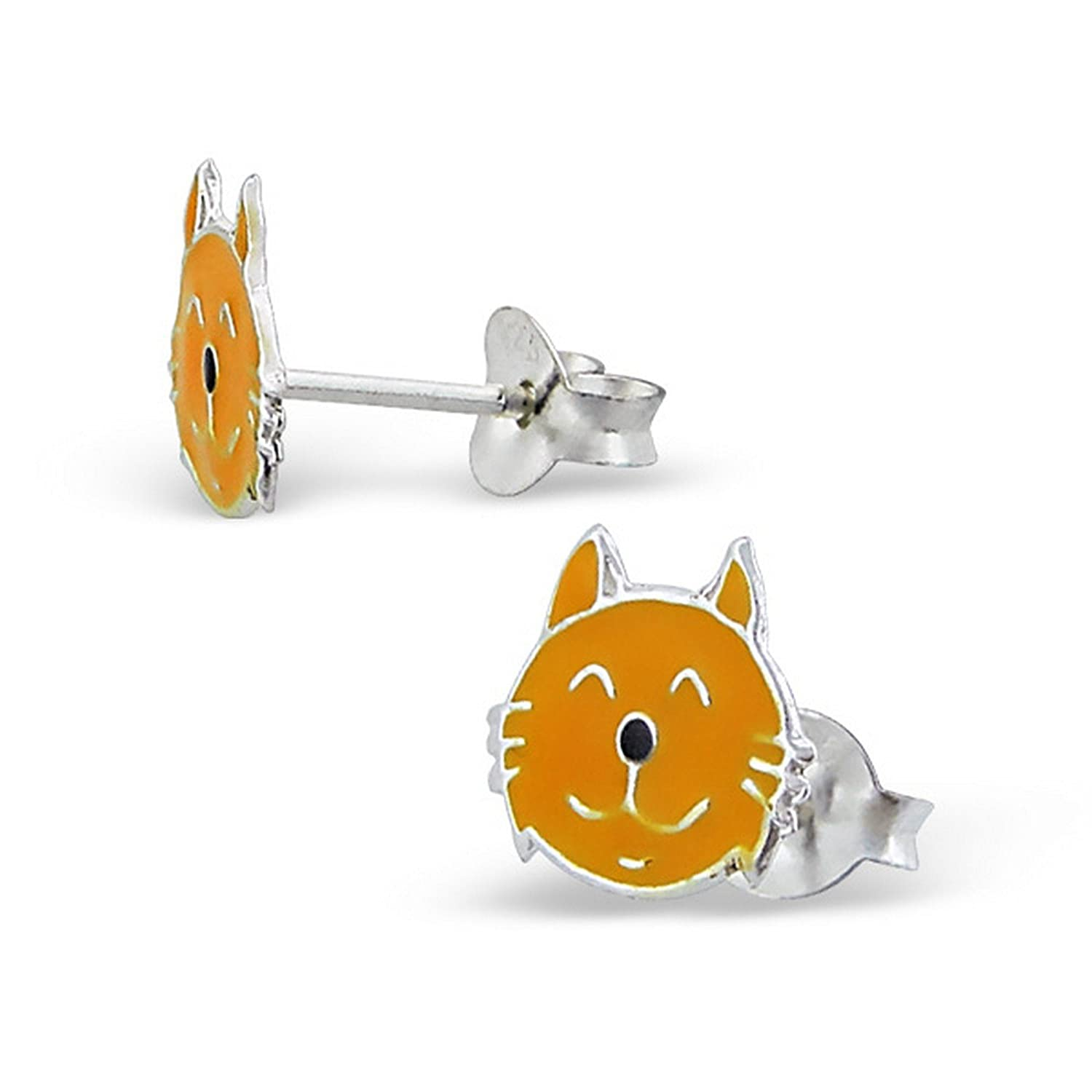 Girls Cat Colorful Ear Studs 925 Sterling Silver