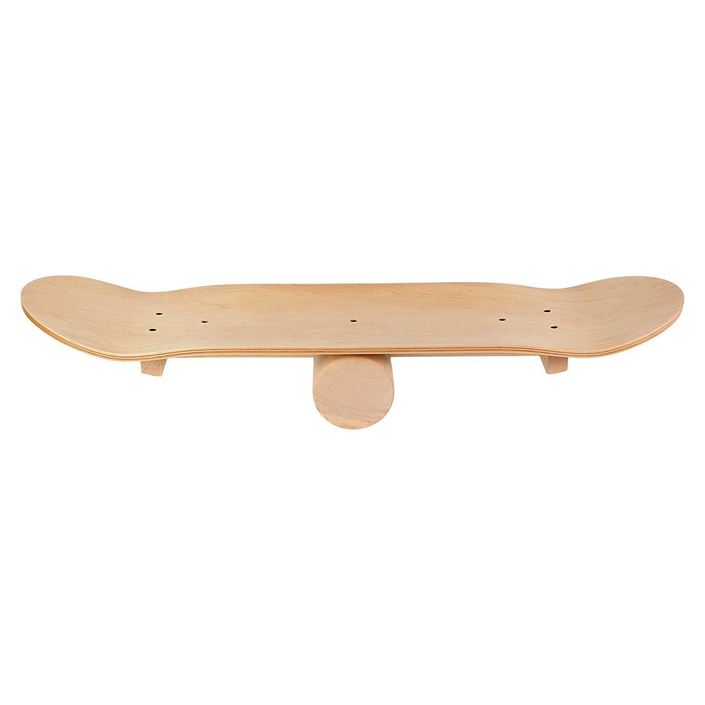 Wooden Balance Board Skateboard by POWRX Balance Board Training Balance Board Fitness Indoor Board Balance Trainer balance training
